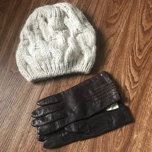 Vintage Italian wool cable knit hat leather gloves